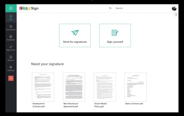 Zoho Sign - virtual firm and remote teams